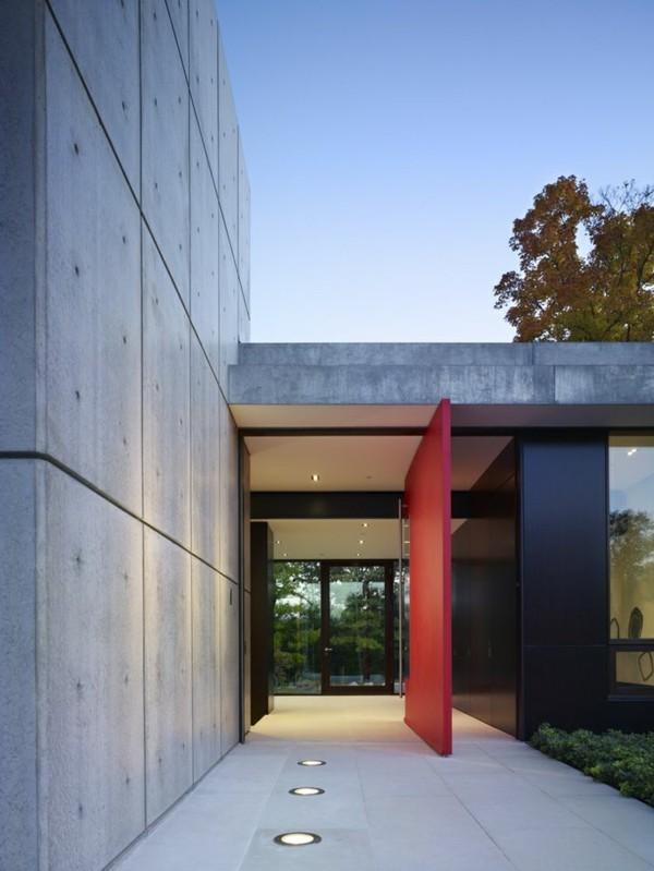 moderne fassadengestaltung rote tür