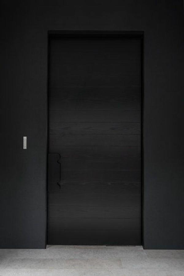 moderne fassadengestaltung schwarze tür