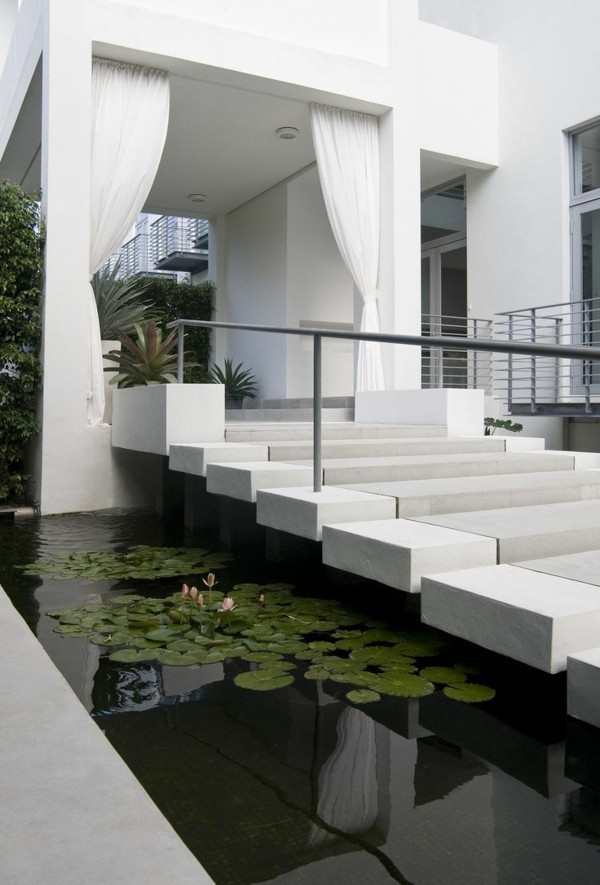 moderne fassadengestaltung weißer eingang