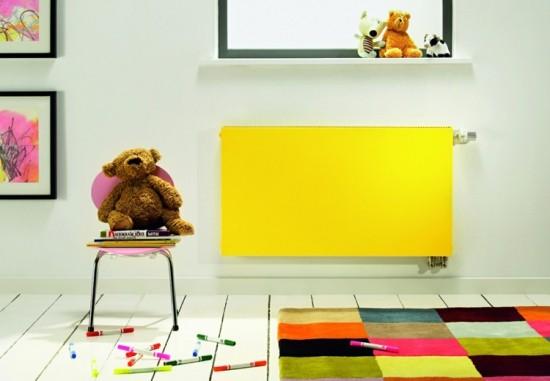 moderne heizköper gelb wandhalterung kinderzimmer heizen
