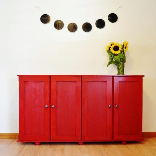 moderne kommode rot türen großer stauraum