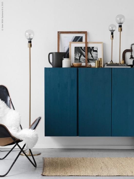 moderne kommode schwebendes design blau