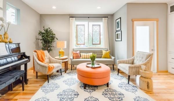 modernes Wohnzimmer Naturmaterialien
