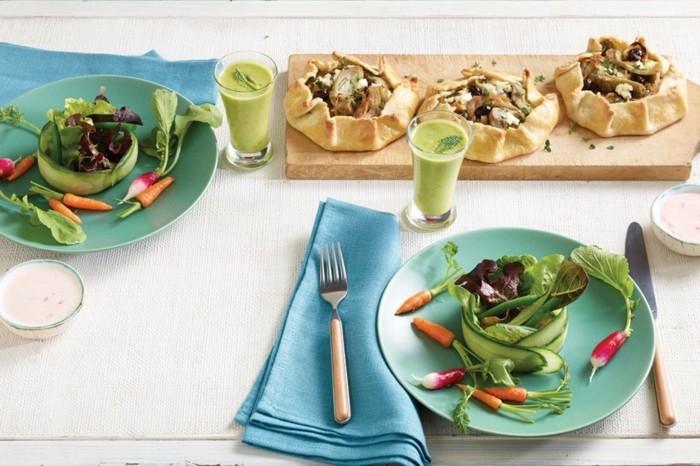 osterbrunch ideen veganes frühstück gemüse grüne smoothies