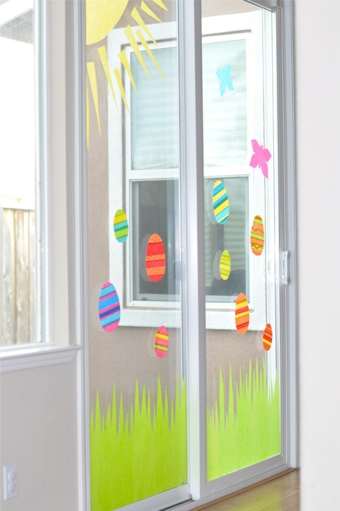 osterdeko fenster glastüren dekorieren farbige ostereier