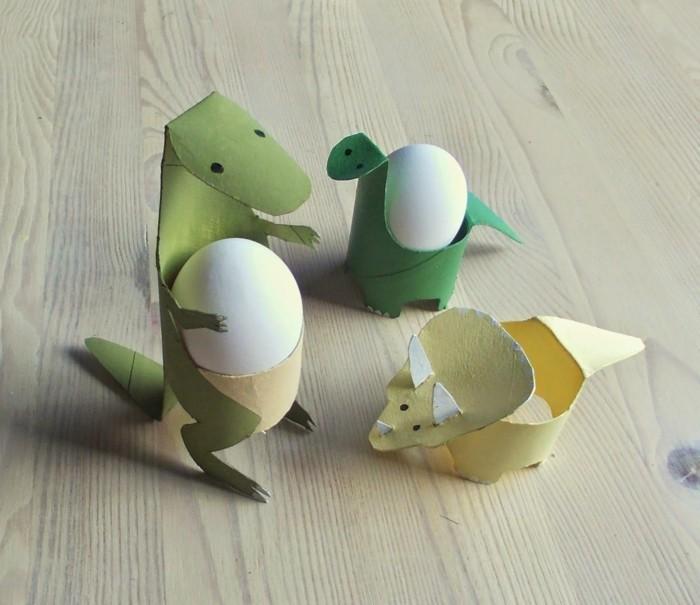 osterdeko selber machen basteln mit klopapierrollen dinosaurierer