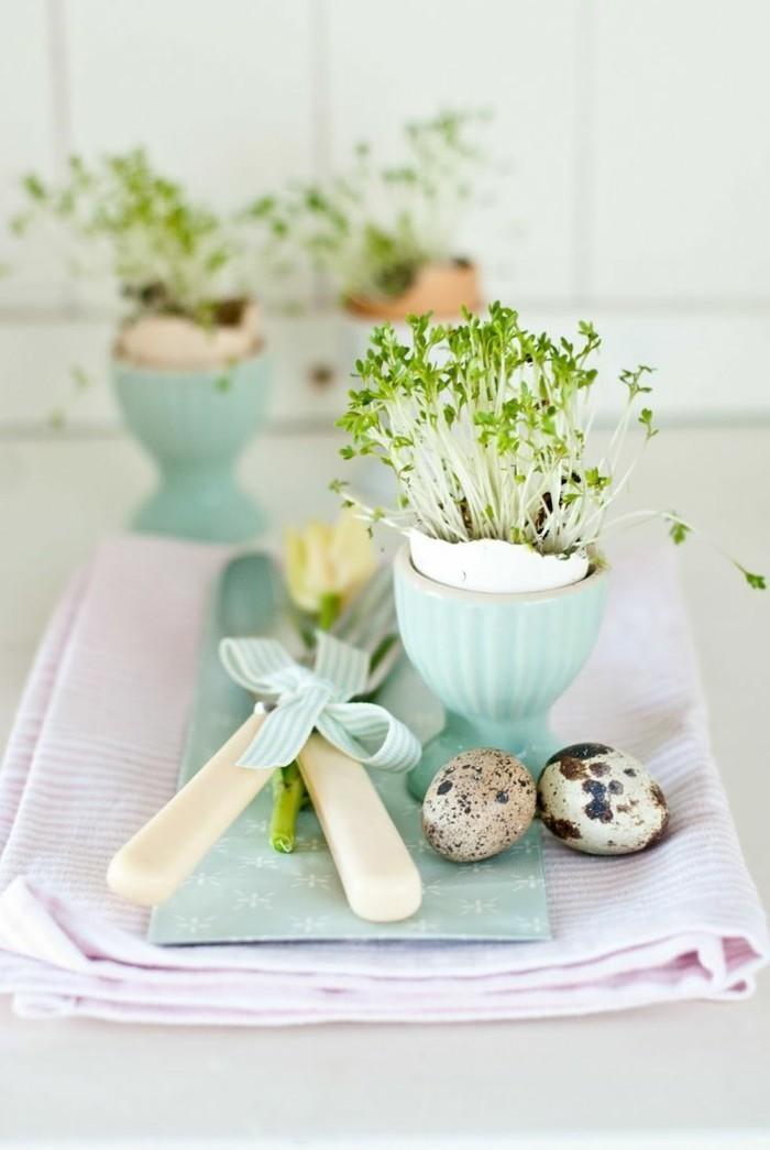 osterdekoration basteln tisch dekorieren ei vase