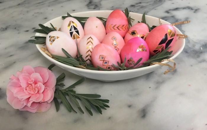 ostereier bemalen ostereier dekorieren osterdeko selber machen rosarot