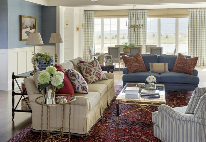 perserteppiche gemütliches wohnzimmer blaues sofa landhausstil
