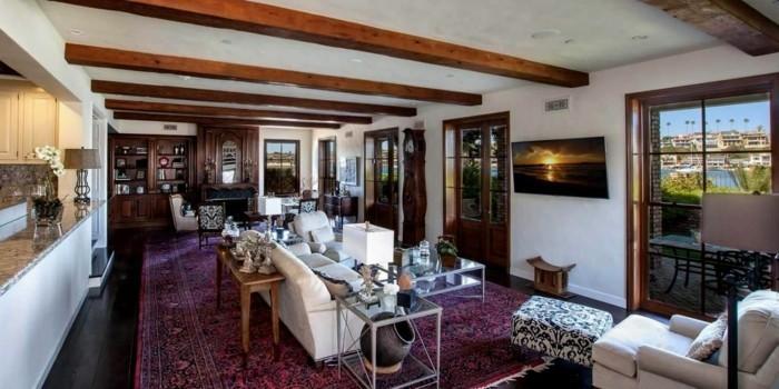 perserteppiche holzbalken weiße wohnzimmermöbel