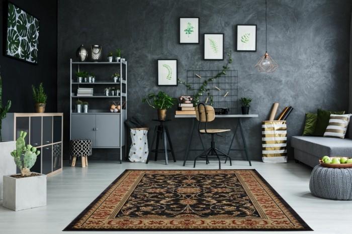 perserteppiche modernes wohnzimmer graue wand pflanzen