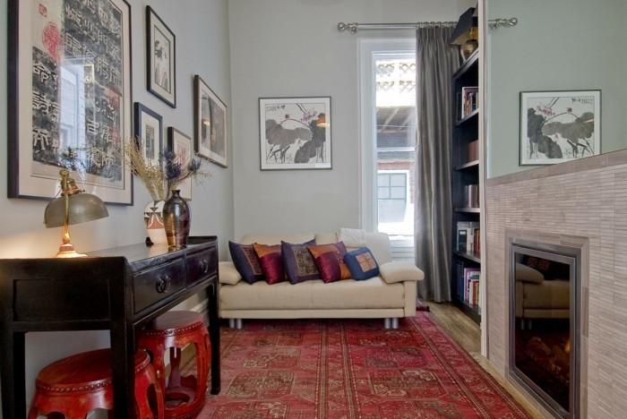 perserteppiche roter teppich wohnzimmer lange gardinen