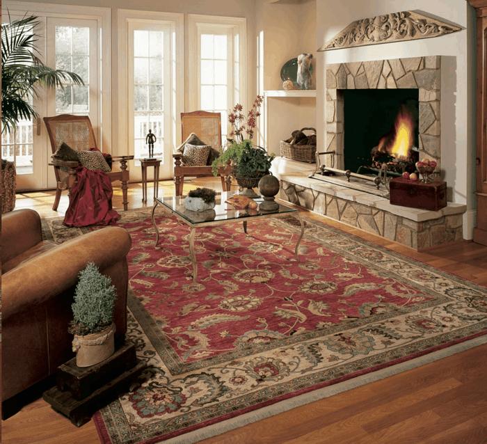 perserteppiche wohnbereich gestalten kamin gemütlich