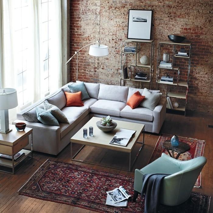 perserteppiche wohnideen wohnzimmer teppichläufer ziegelwand