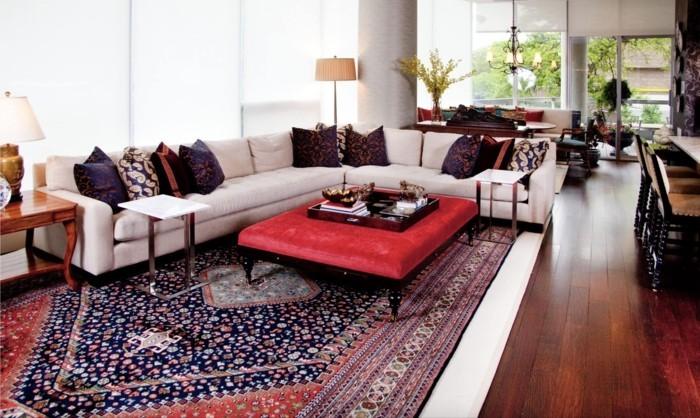 perserteppiche wohnzimmer einrichten textilien farbige akzente