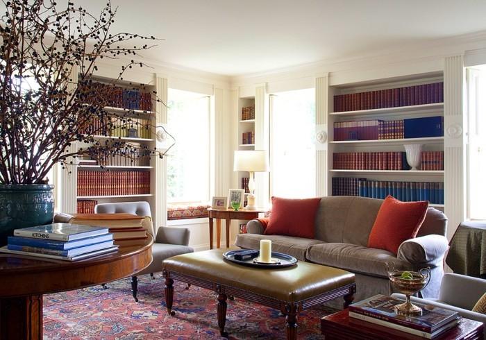 perserteppiche wohnzimmer gemütlich gestalten kleine bibliothek