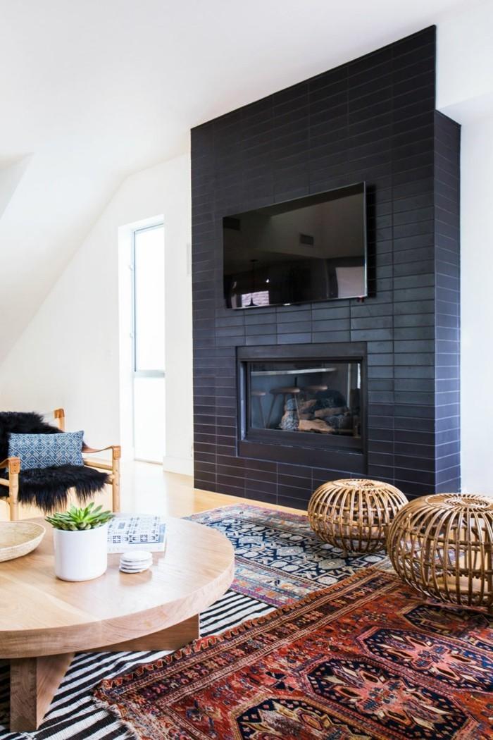 perserteppiche wohnzimmer kamin runder couchtisch