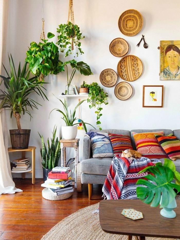 pflanze mit großen blättern eklektisches wohnzimmer farbige textilien