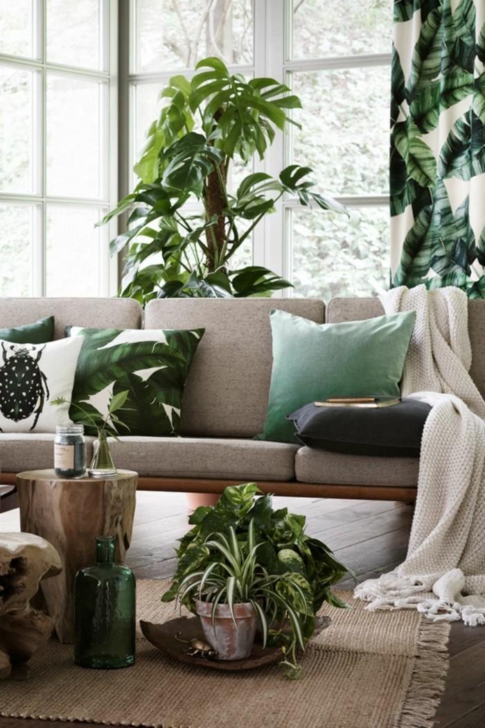 pflanze mit großen blättern frisches flair florales gardinenmuster