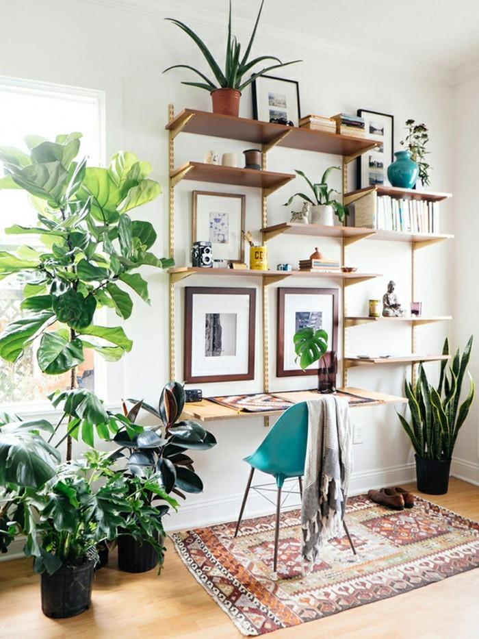 pflanze mit großen blättern home office teppich heller bodenbelag