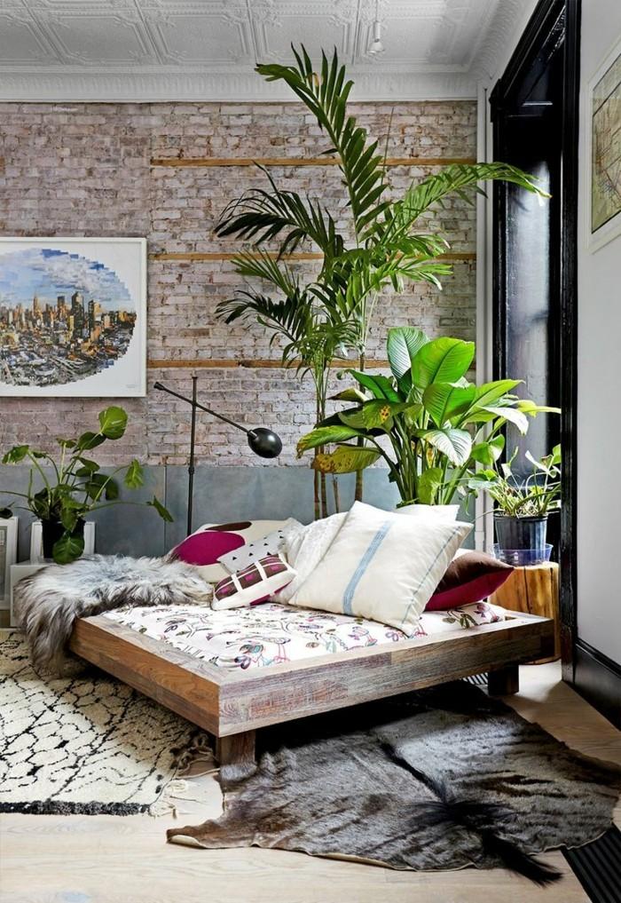 pflanze mit großen blättern tropisches flair schlafzimmer
