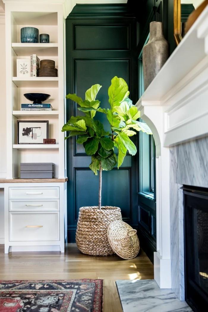 pflanze mit großen blättern zimmerpflanze korb wohnzimmer dekoideen