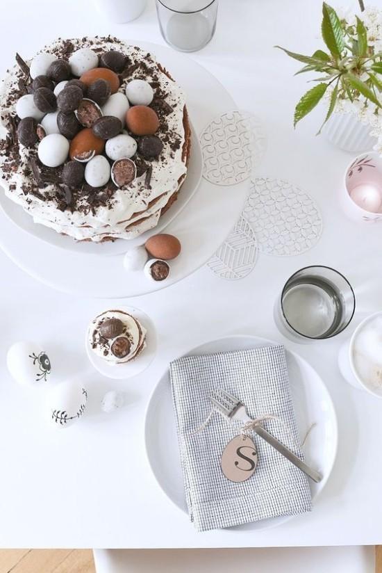 schöne Tischdeko Ostern im minimalistischen Stil