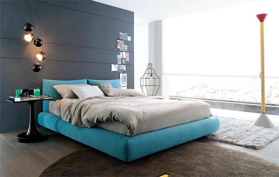 schlafzimmer gestalten modernes bett ovaler teppich