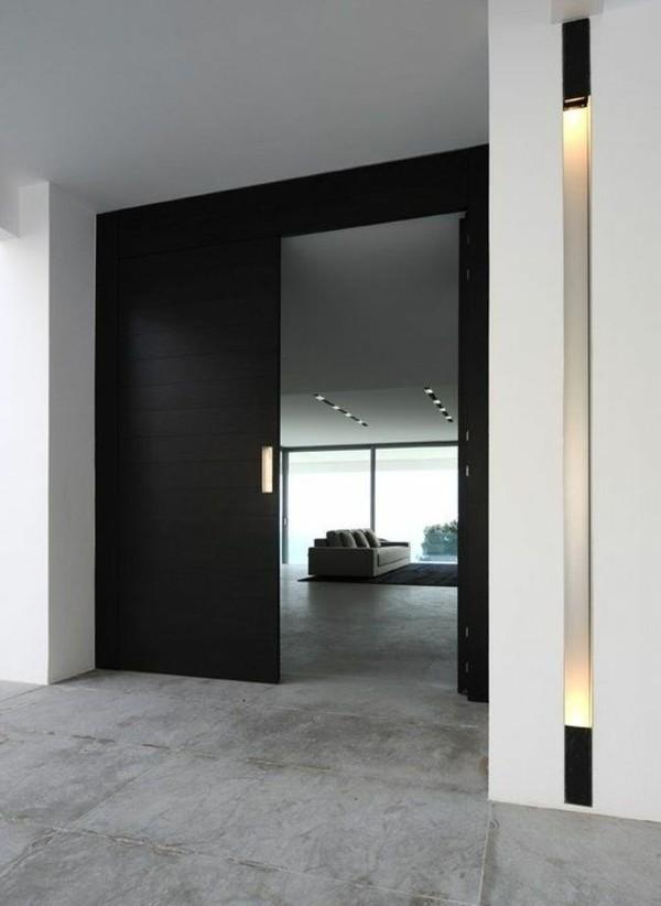 schwarze tür moderne fassadengestaltung