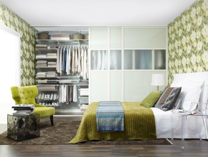 tapeten schlafzimmer ideen blumenmuster grün frisch
