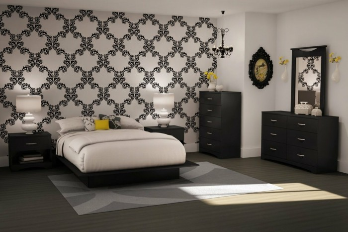 tapeten schlafzimmer ideen und vorschl ge f r ein. Black Bedroom Furniture Sets. Home Design Ideas