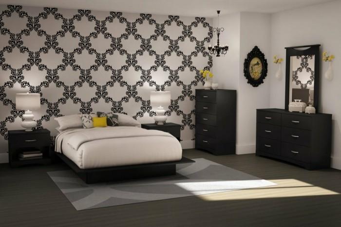 tapeten schlafzimmer ideen elegantes muster weiß schwarz