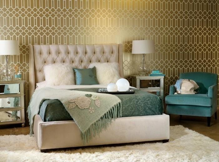 tapeten schlafzimmer ideen luxuriöse wandtapeten grüne akzente