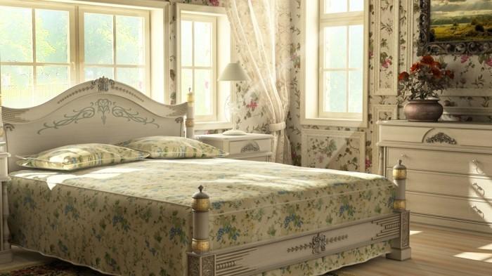 tapeten schlafzimmer ideen schönes blumenmuster helle farben