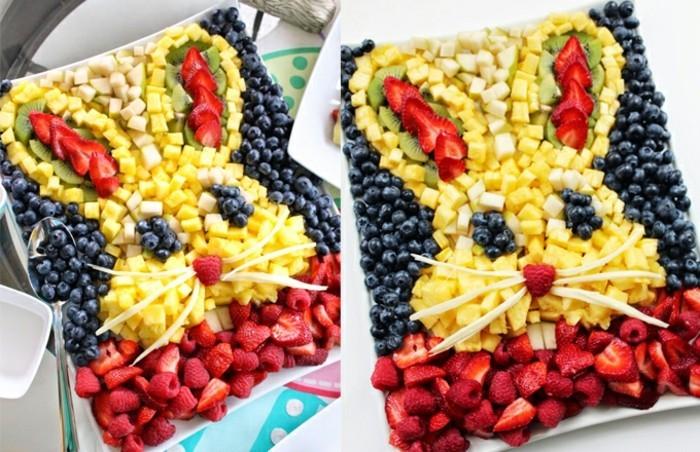 vegane osterrezepte mit obst erdbeeren himbeeren blauberen ananas osterhase