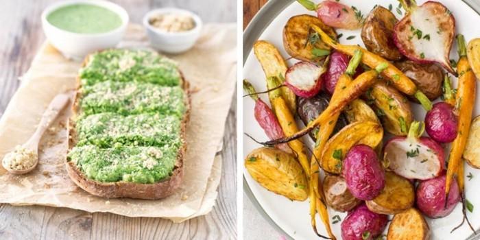veganes frühstück gebratenes gemüse guacamole toast
