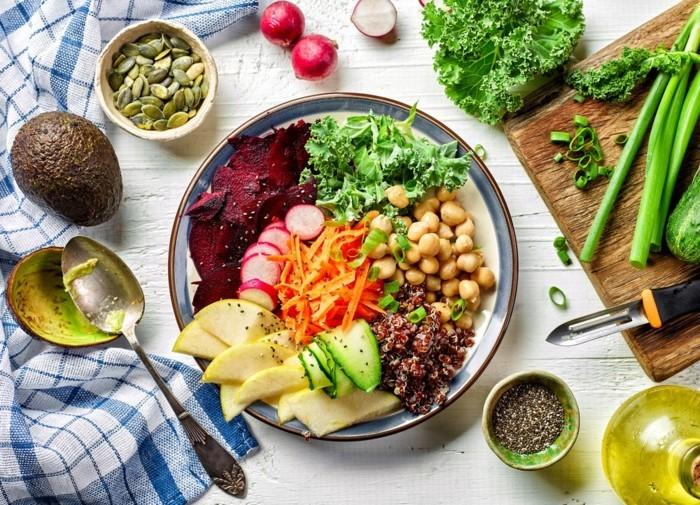 veganes frühstück gemüse und samen