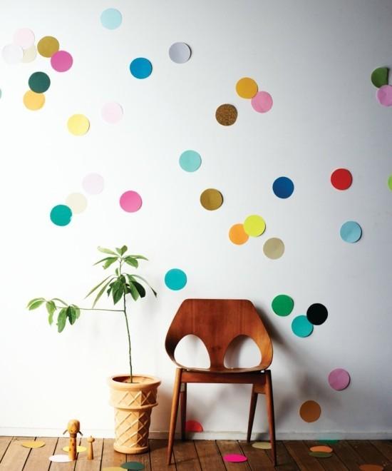 wanddeko ideen konfetti farbig lustig