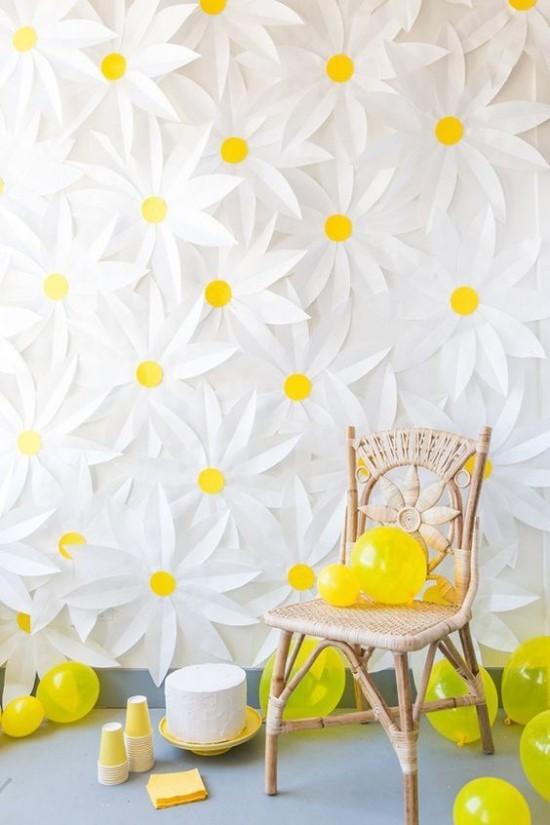 wanddeko ideen party blumen wanddekoration weiß gelb