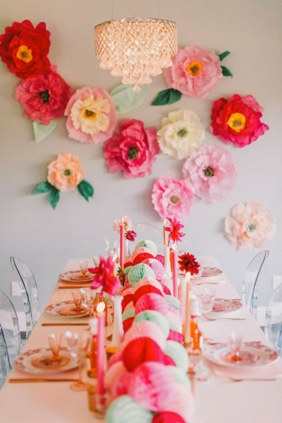wanddeko ideen party farbige papierblumen