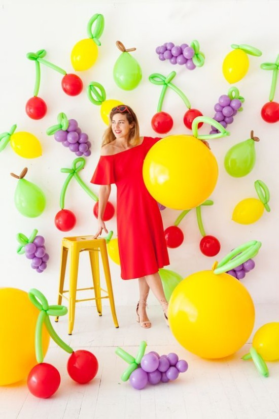 wanddeko ideen party frische farben obst gemüse