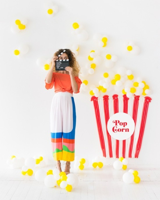 wanddeko ideen party pop corn