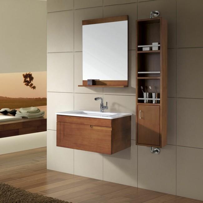 Badezimmerspiegel holzrahmen und spiegelfläche