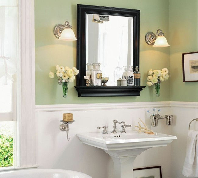 Badezimmerspiegel quadratische holzrahmen