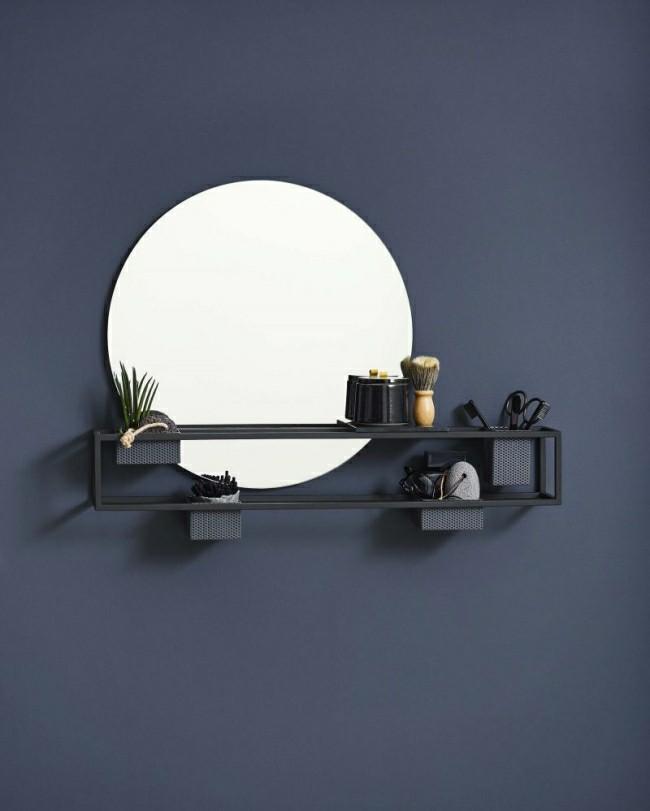 Badezimmerspiegel rundes design mit kosmetik