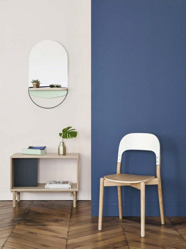Badezimmerspiegel weiß blaue wandgestaltung