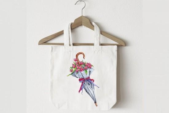 Blumenmotiv positive Ausstrahlung Einkaufstasche
