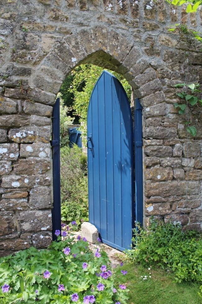 Gartentor Holz blau