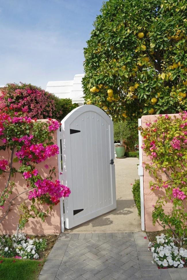Gartentor weiß gewölbt geöffnet schöne Gartenlandschaft