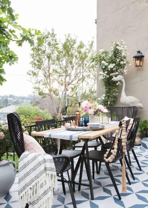Gestaltung Ideen kleine Gärten Essbereich draußen verlegen